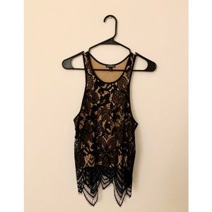EXPRESS Black Floral Lace Tank Top